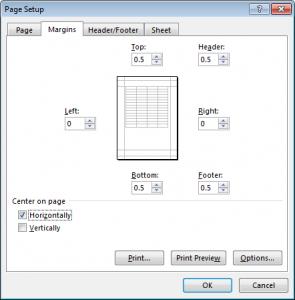 Excel Margins for DOC Log Line-Up