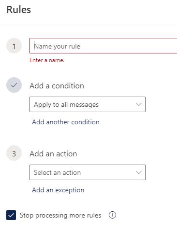 Outlook Rule Options