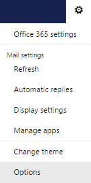 Outlook Gear Icon and Menu