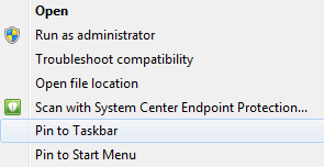 Windows Pin to Taskbar Option