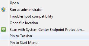Windows Pin to Taskbar Option