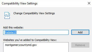 IE Compatibility View Settings Dialog Box