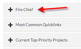Quicklinks Fire Chief Menu