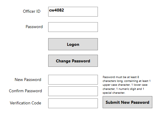 FireApp Change Password Screen