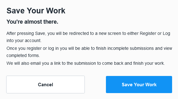 Save Your Work Dialog Box